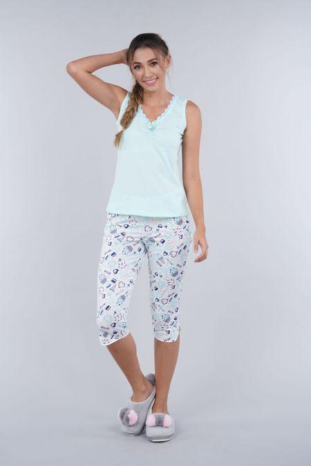 Pijama para Mujer Color Verde Ref: 000214 - Myaw - Talla: S